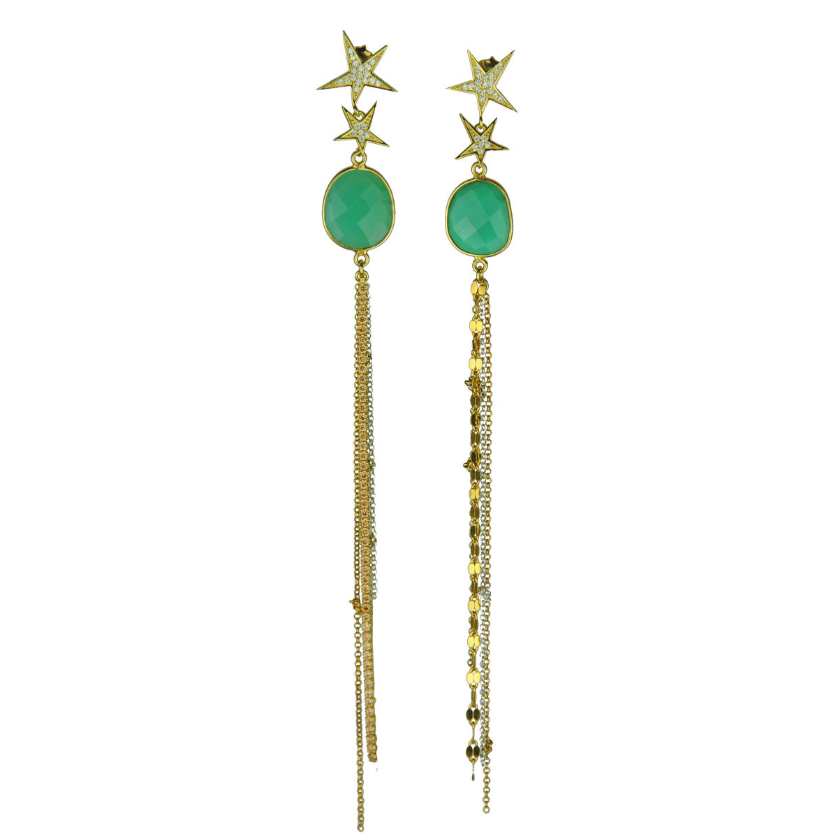 Gold plated 925 silver earrings with chrysoprase and tassels katerina psoma