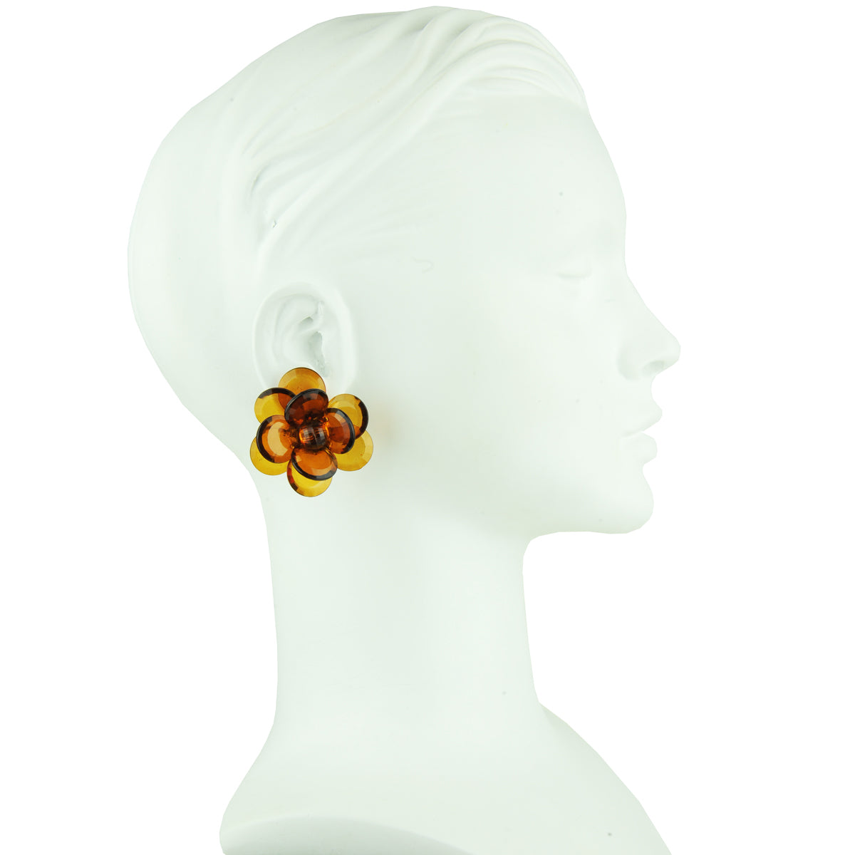Sylvia Tortoise Big Flower Clip Earrings