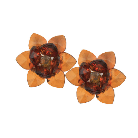 Sylvia Tortoise Small Flower Clip Earrings