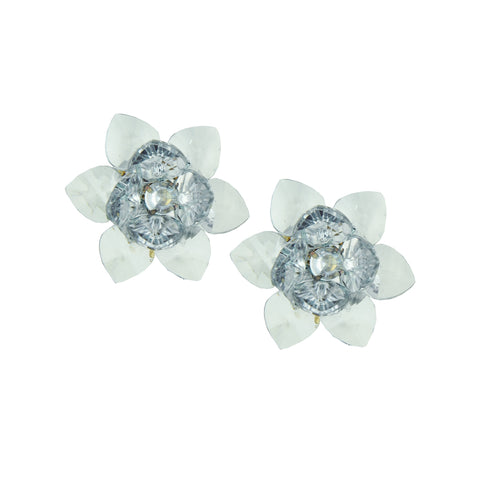 Sylvia Transparent Small Flower Clip Earrings