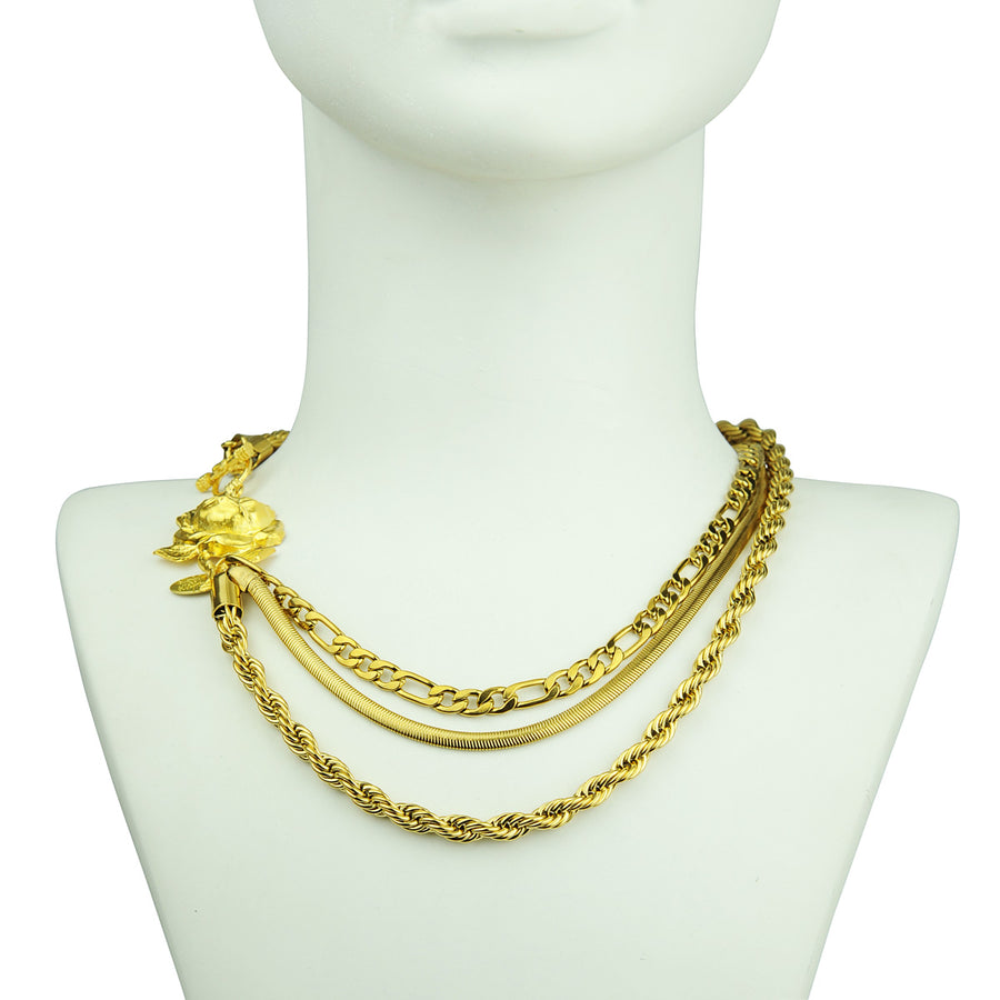 katerina psoma gold plated 3 row necklace costume jewelry