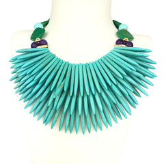 Turquoise and Green Howlite Short Necklace