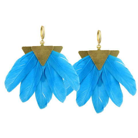 Artemis Turquoise Feather Gold Plated Metal Earrings