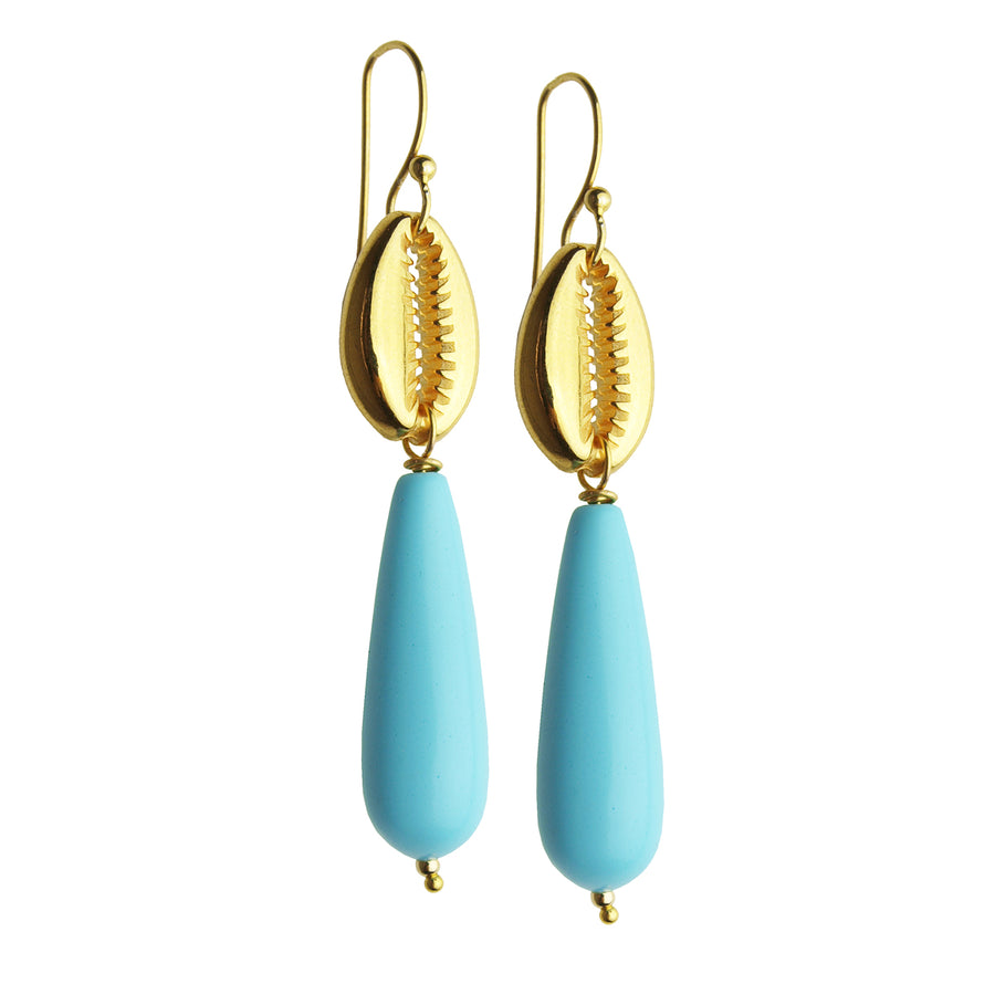 Turquoise Shell Hook Earrings