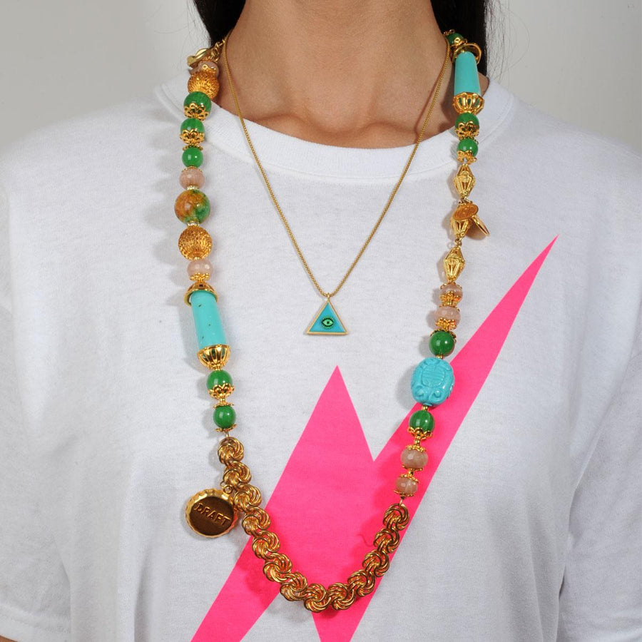 Long turquoise necklace with charms katerina psoma