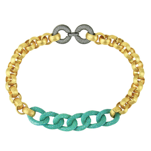 Erica Metal and Turquoise Stingray Chain Necklace with Crystal Closure