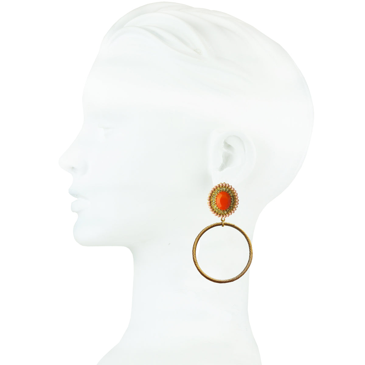 Gina Coral Rosettes and Metal Hoops