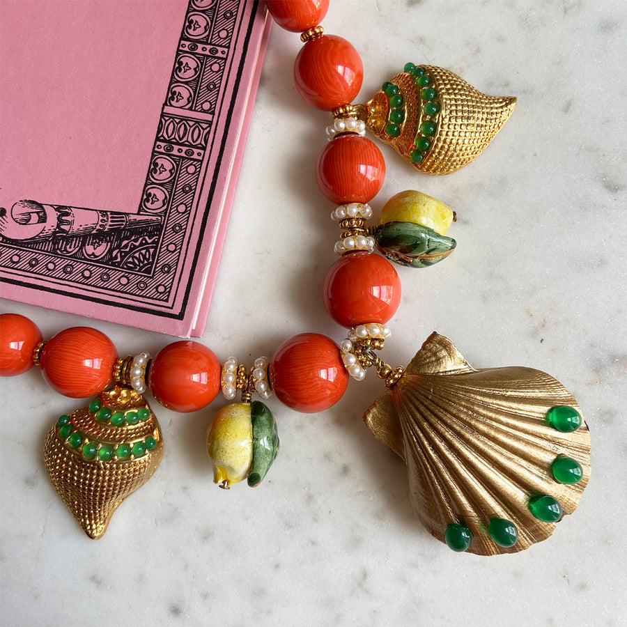coral short statement necklace with sea motifs katerina psoma instagram