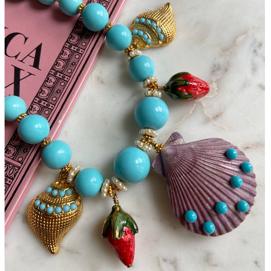 turquoise short statement necklace with sea motifs katerina psoma close up