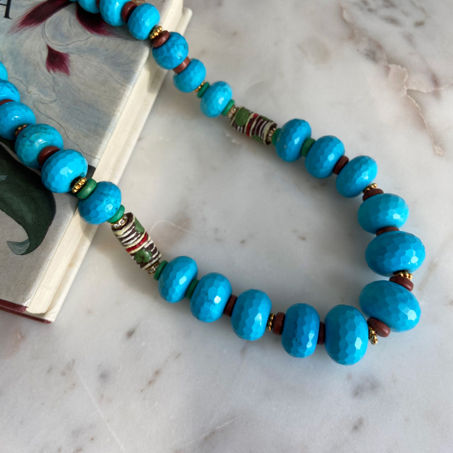 medium height turquoise coral statement necklace with trade beads katerina psoma instagram