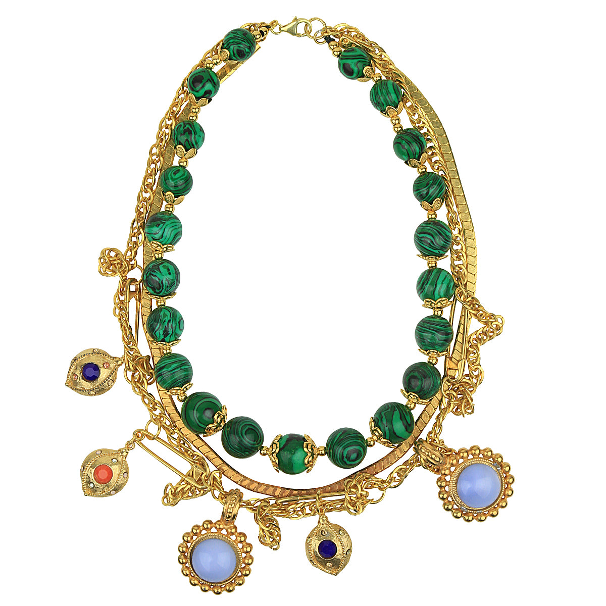 Claudia Vintage Chain and Malachite Short Necklace with Charms