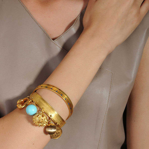 Cyclos Gold Plated Metal Colored Enamel Bracelet