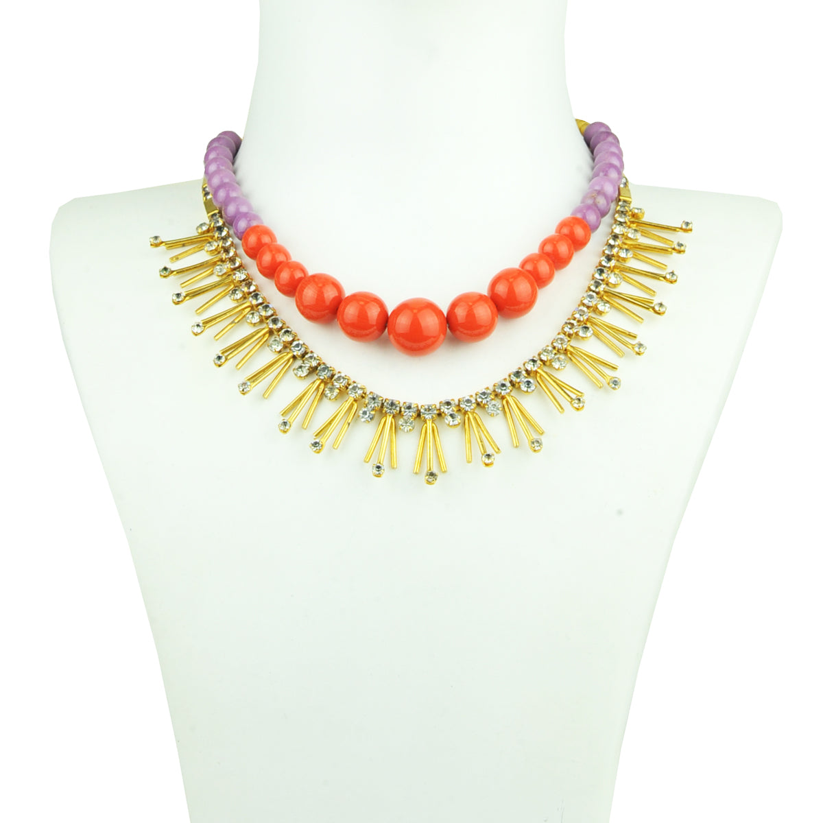 Eva Coral and Agate Short Necklace with Vintage Crystals