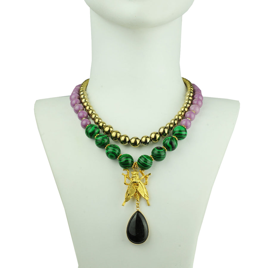 Katerina Psoma Malachite and Pyrite Short Necklace semiprecious stones
