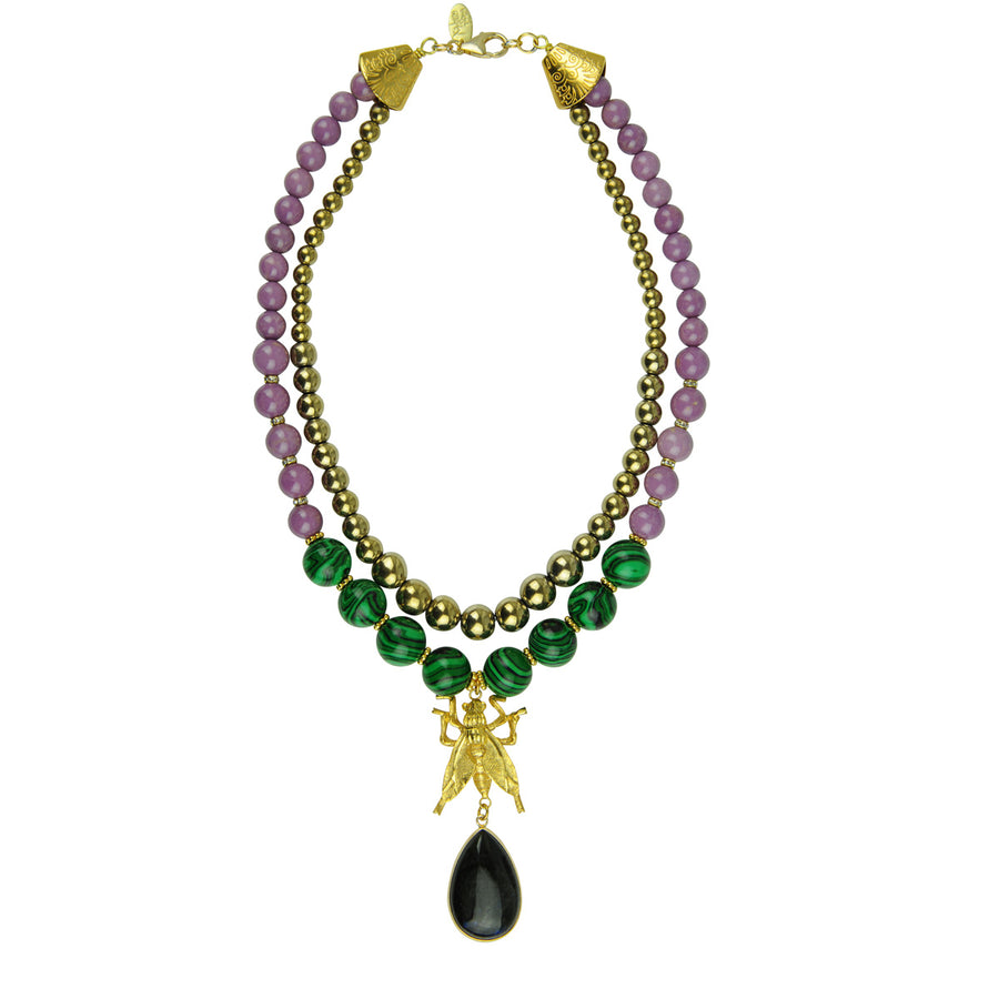 Katerina Psoma Malachite and Pyrite Short Necklace
