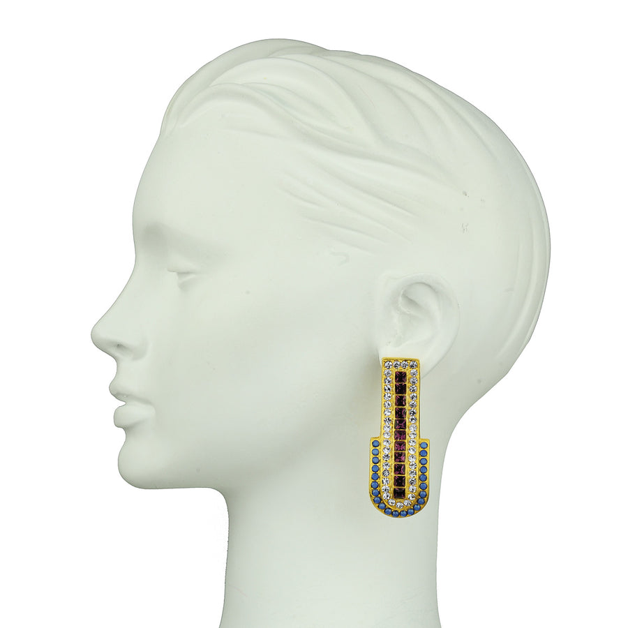 Katerina Psoma Blue Swarovski Clip Earrings