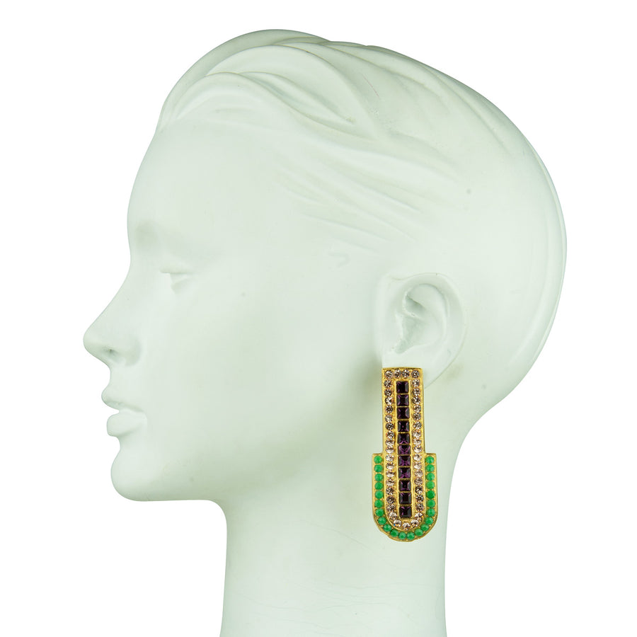 Katerina psoma clip statement earrings with crystals green and purple