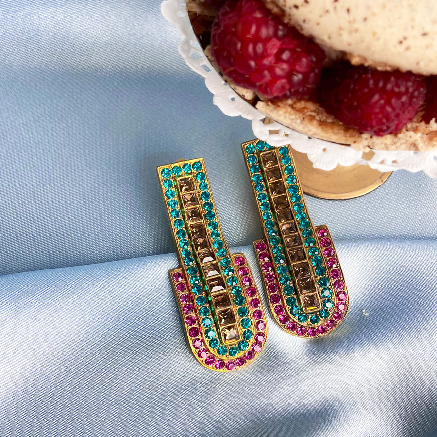 Katerina Psoma Fuchsia Clip Earrings gold plated statement