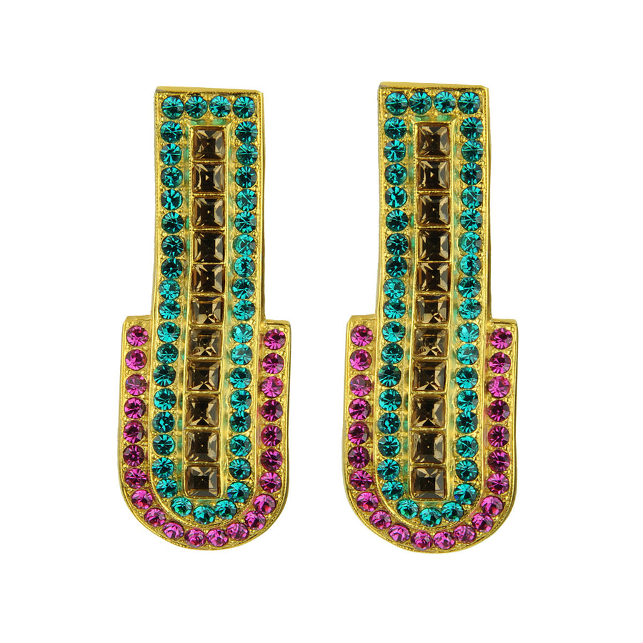 Katerina Psoma Fuchsia Clip Earrings gold plated