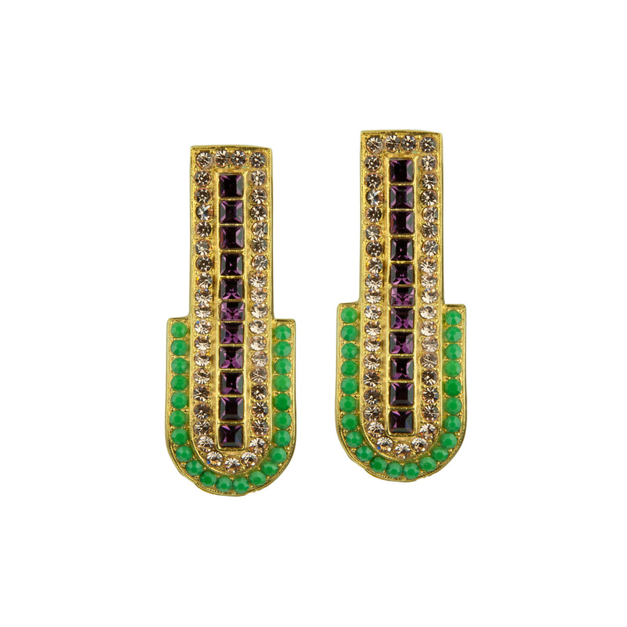Katerina psoma clip statement earrings with crystals