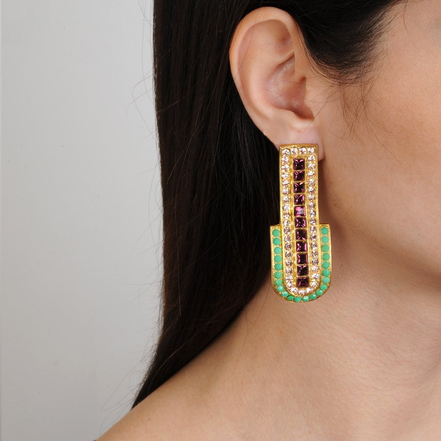 Katerina psoma clip statement earrings with green and purple crystals