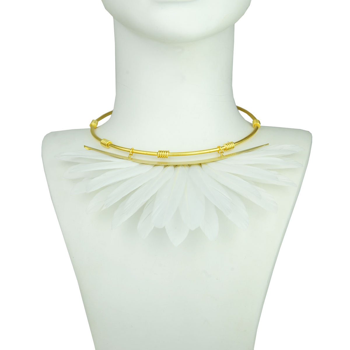 white feather necklace bust