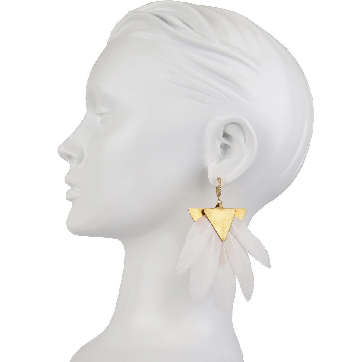 silver dangle earring with white feather katerina psoma