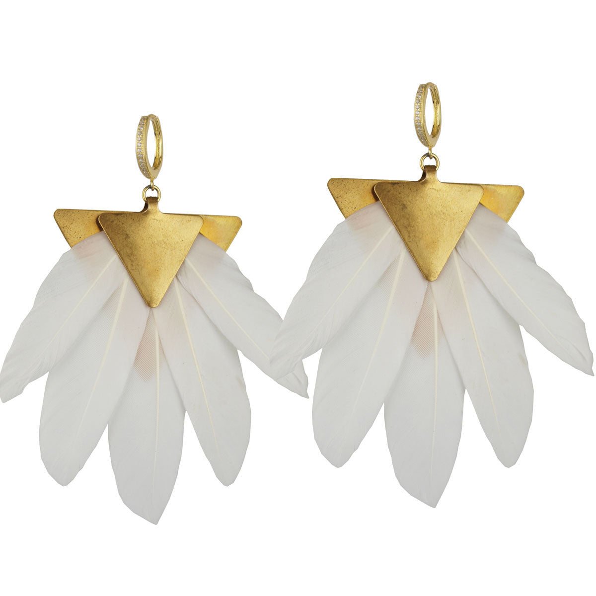 white geese feather dangle earrings katerina psoma