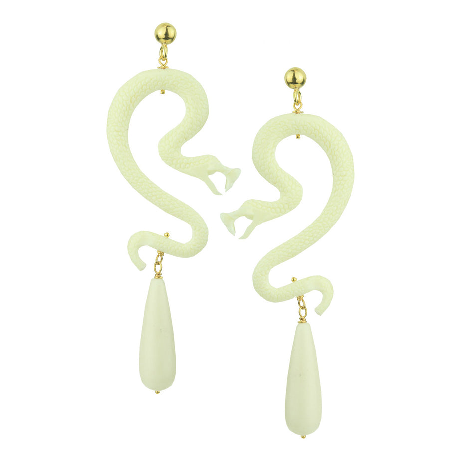White Resin Snake and Coral Drops Earrings Katerina Psoma