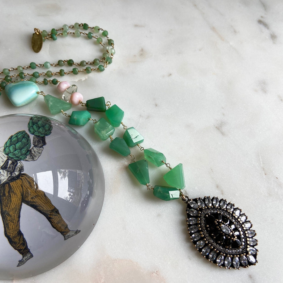 Chrysoprase Long chrysoprase Pendant Necklace Katerina Psoma with vintage crystal pendant glamorous