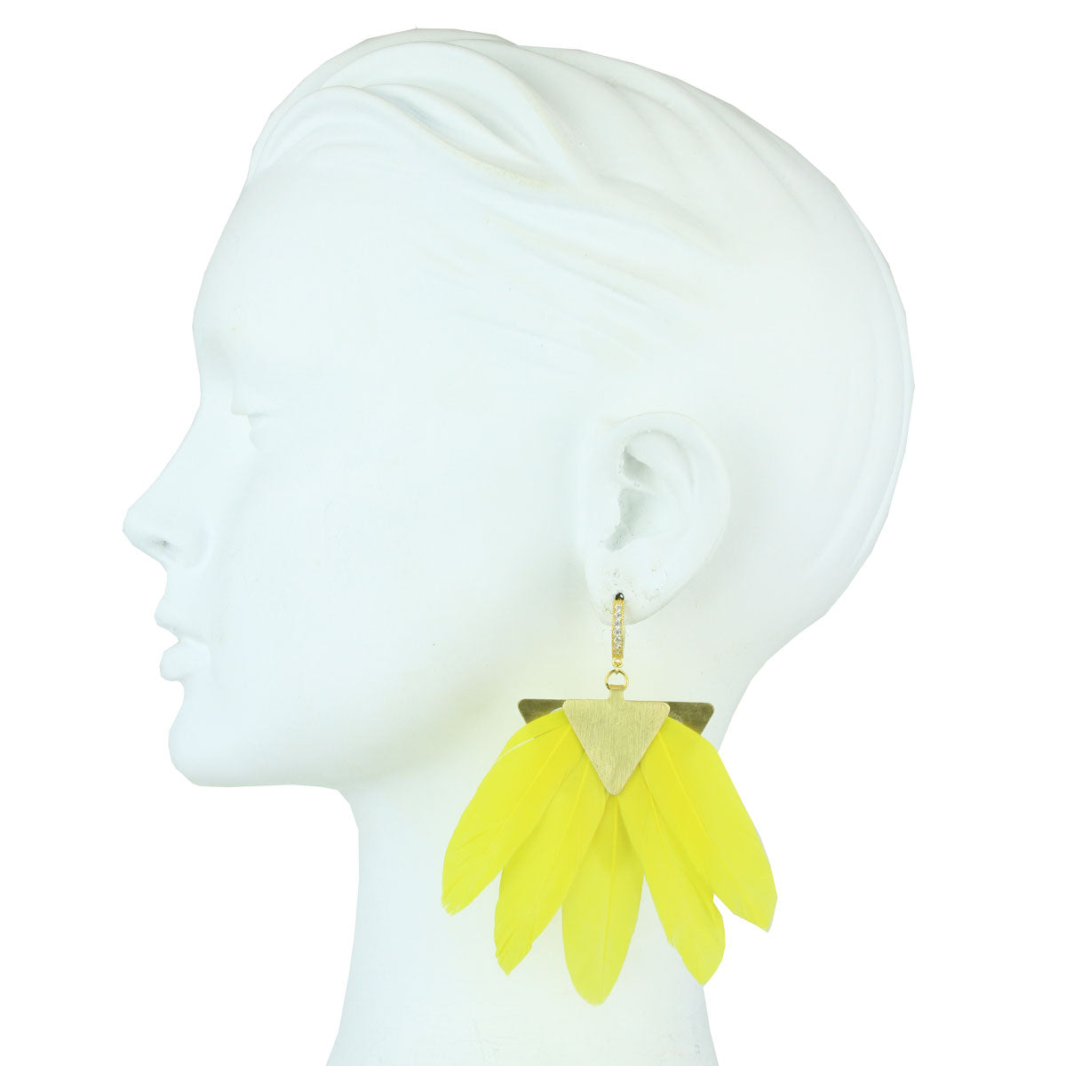 silver earring with yellow feather katerina psoma