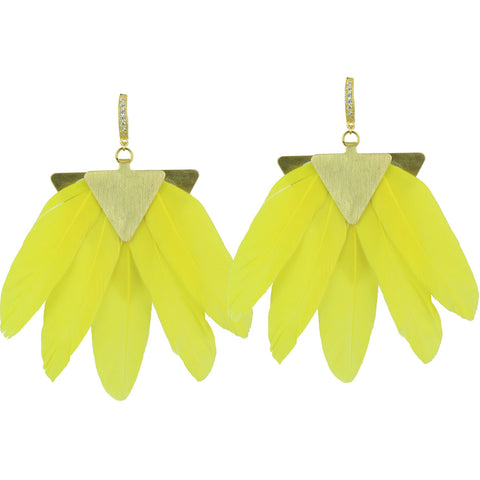 Artemis Yellow Feather Gold Plated Metal Earrings