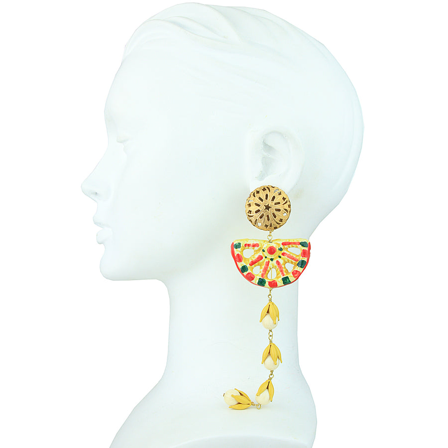 Angelica Dangle Vintage Clip Earrings with Yellow Sicilian Ceramics