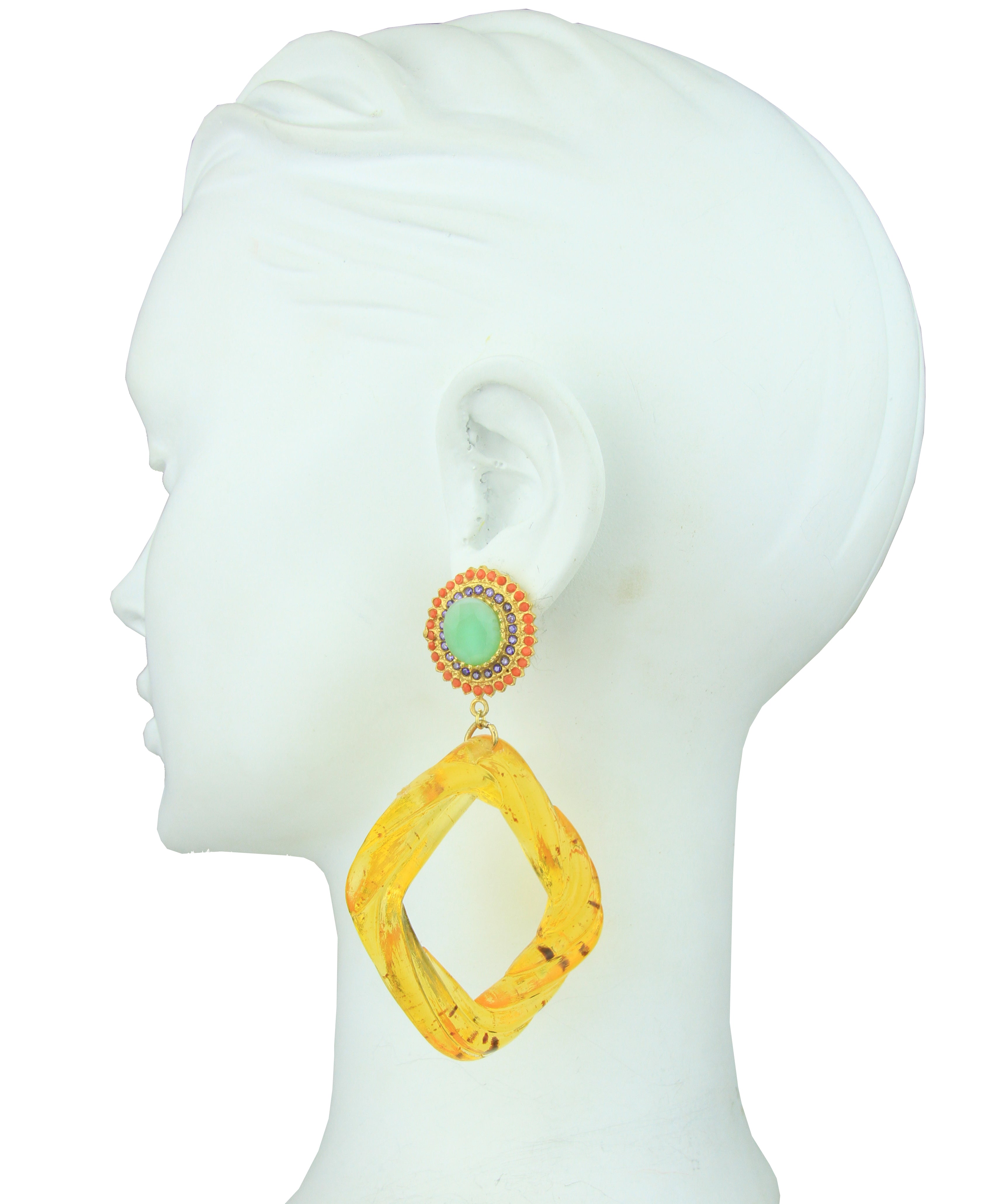 Angelica Rosettes and Amber Resin Hoops