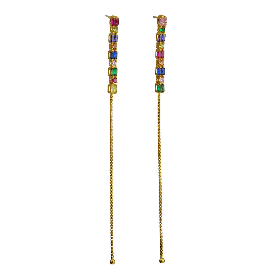 Katerina Psoma Dangle Earrings with Colored Zirconia