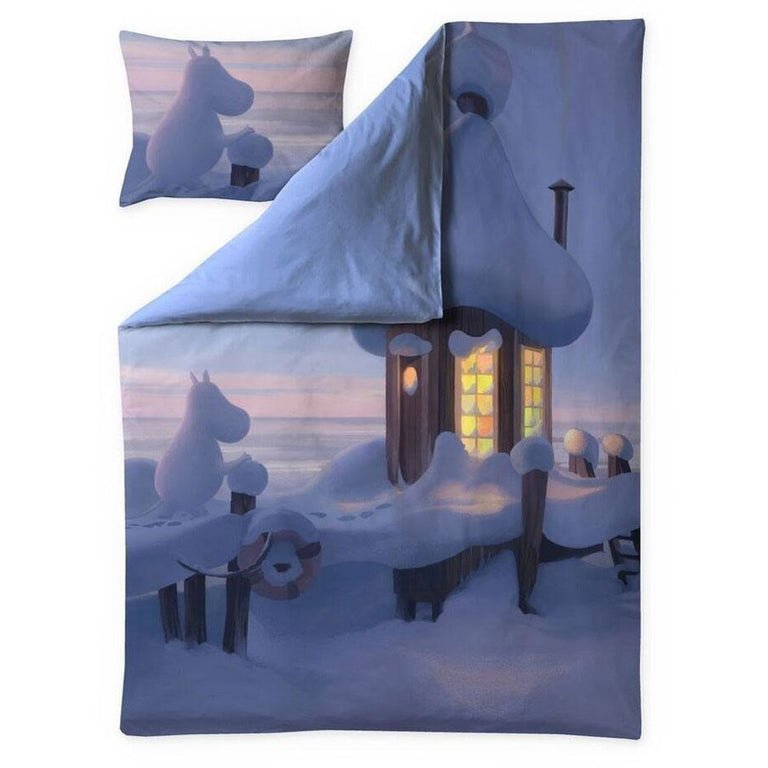 Moominvalley Winter satin duvet cover set 150 x 210 cm by Finlayson - The Official Moomin Shop