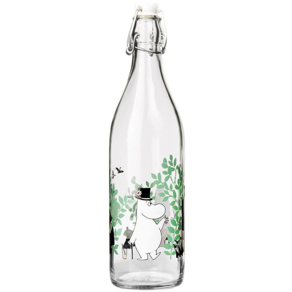 "Moomin ""Day in the garden"" Glass Bottle 1 l - Muurla - The Official Moomin Shop"