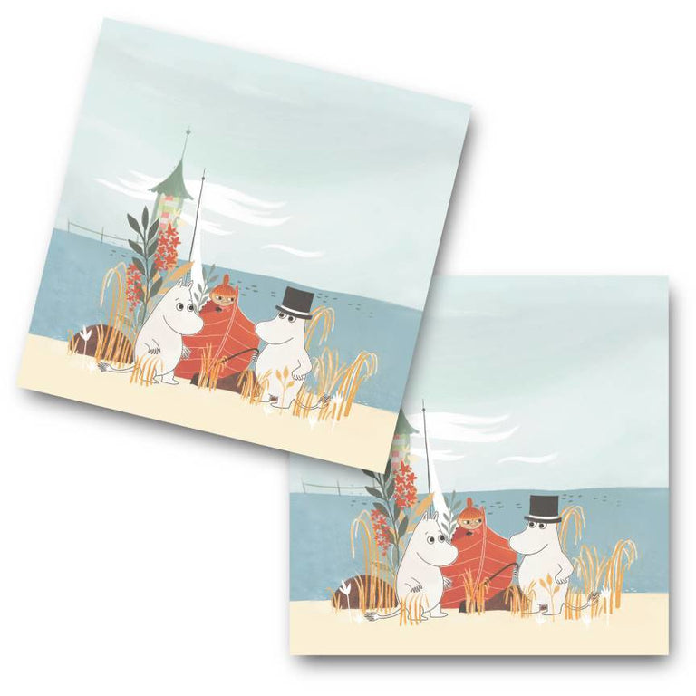 "#OURSEA Moomin ""Boat on the beach"" Coasters 4-pack - Opto Design - The Official Moomin Shop"