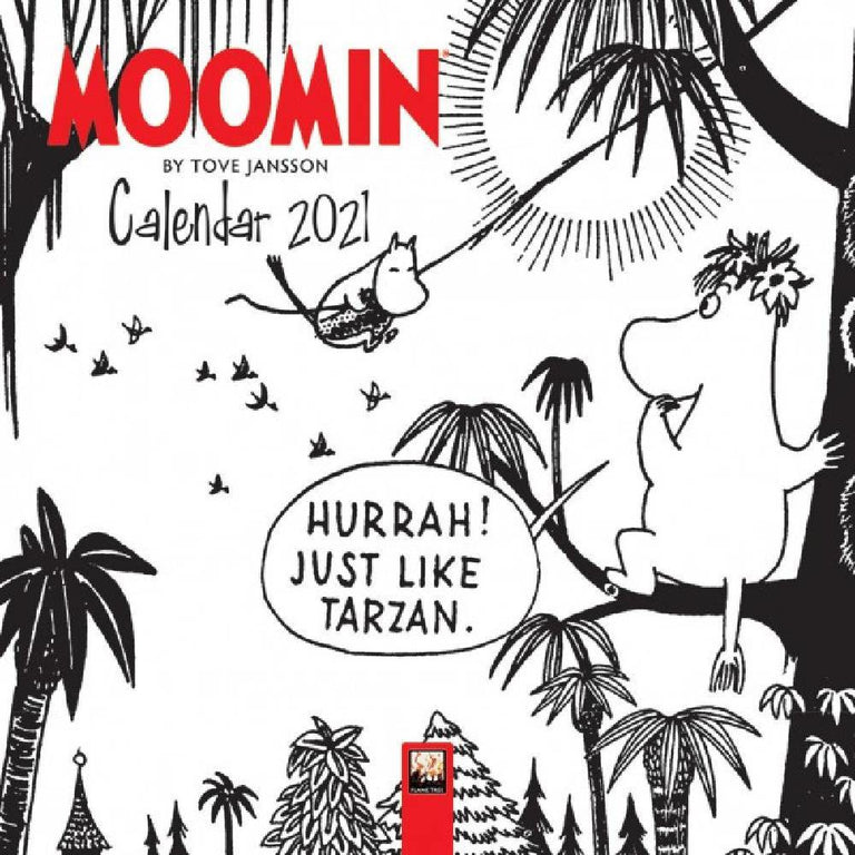 "Moomin ""Tarzan"" Wall Calendar 2021 b/w - Flame Tree - The Official Moomin Shop"