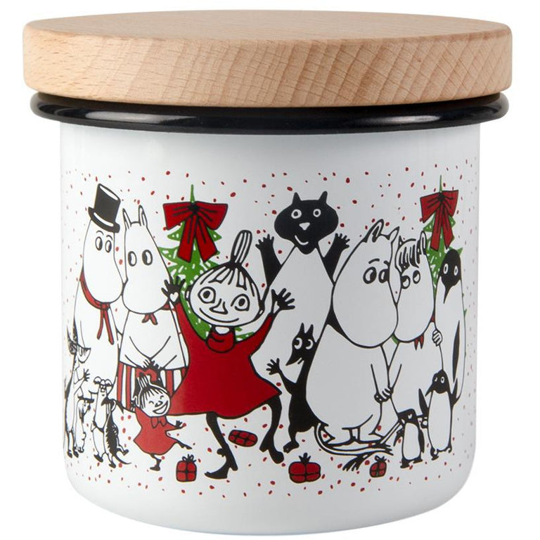Moomin Winter Magic enamel jar with wooden lid 8cm - The Official Moomin Shop