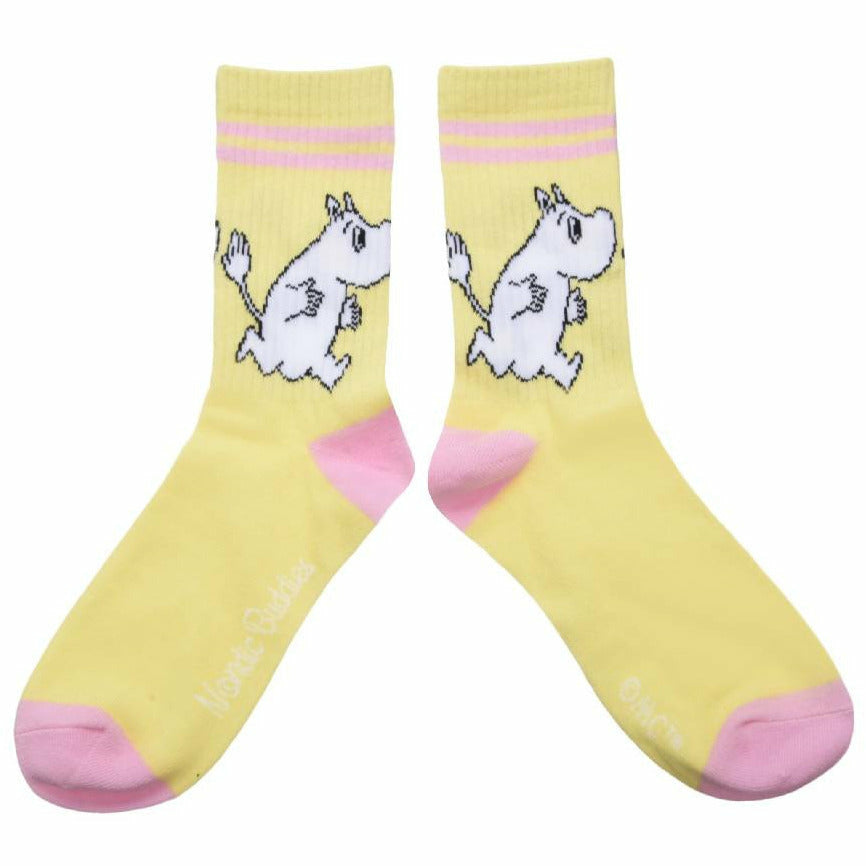 Moomintroll Retro Ladies Socks Yellow - Nordicbuddies - The Official Moomin Shop