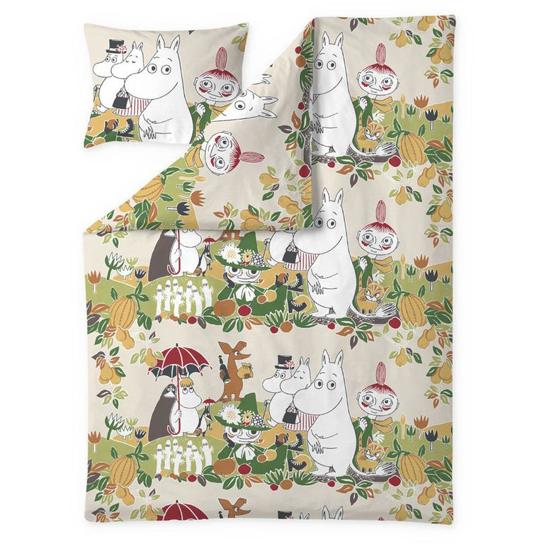 Garden Moomin duvet cover set 150 x 210 cm by Finlayson - The Official Moomin Shop