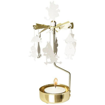 Rotating Moomin family candle holder by Pluto Produkter