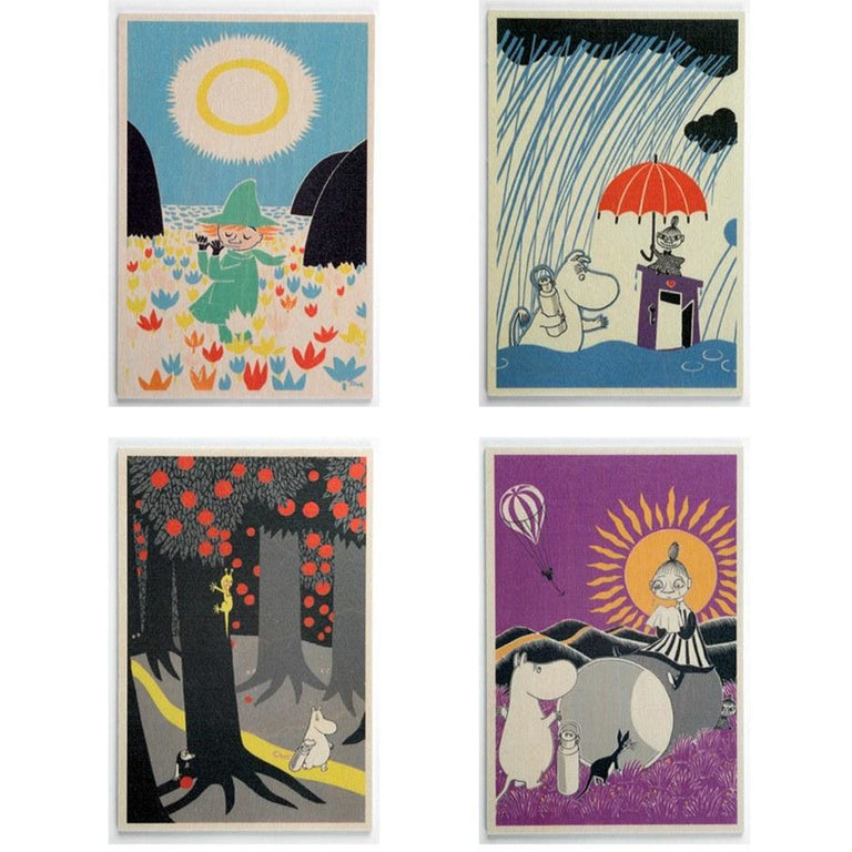 The Book about Moomin wooden card 4-pack - The Official Moomin Shop