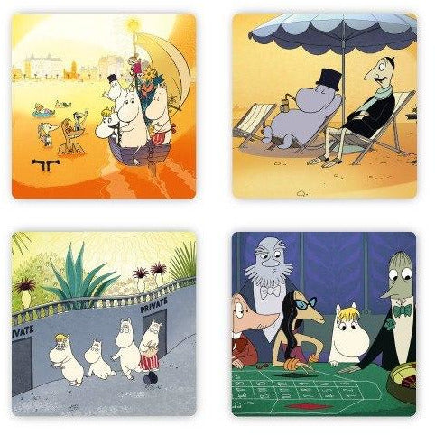 Moomin Riviera Sunbathing Coaster 4-pack - The Official Moomin Shop