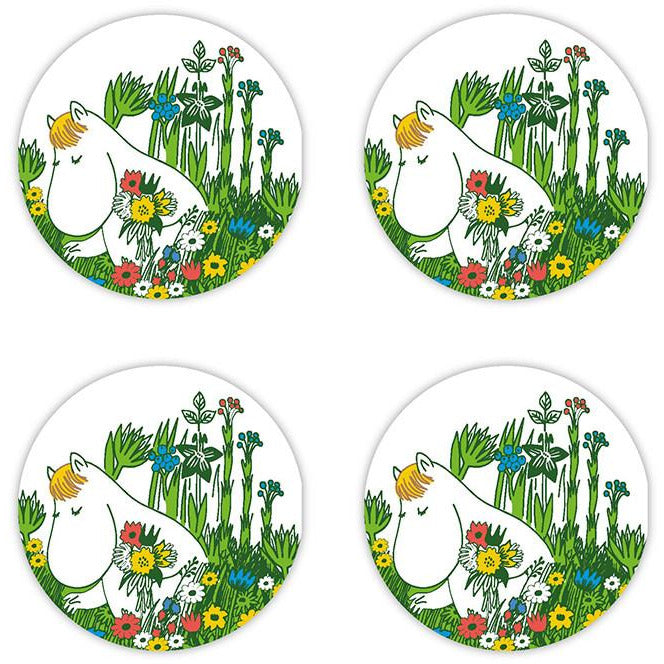 Snorkmaiden Summer glass coasters by Opto Design - The Official Moomin Shop