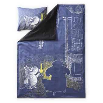 Moomin and the Ancestor satin duvet cover set 150 x 210 cm by Finlayson