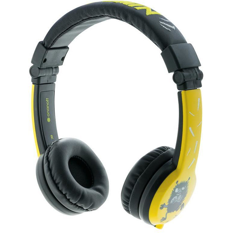 Foldable yellow Stinky Moomin headphones by BuddyPhones - The Official Moomin Shop