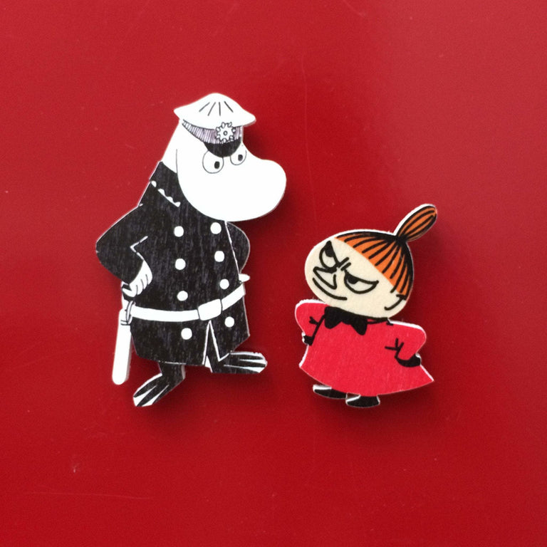The Inspector and Little My wooden magnets by Aprilmai - The Official Moomin Shop