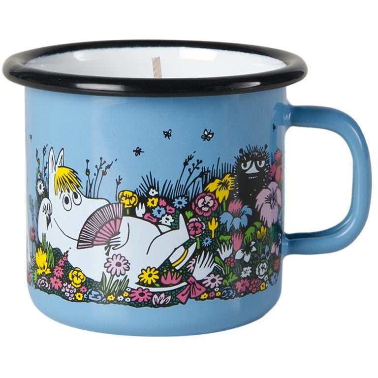 A moment together enamel mug blue 2,5 dl with candle by Muurla - The Official Moomin Shop